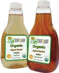 Bottles of organic agave nectar